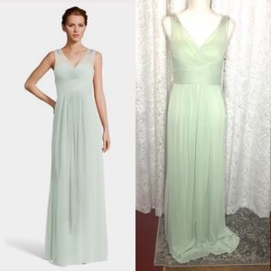 Adrianna Papell Ruched Embellished Gown Mint